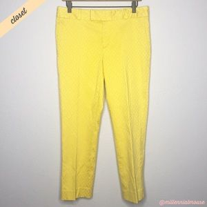 [BR] Yellow Brocade Straight Trouser Ankle Pants